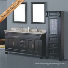 Classical Antique Black Double Sinks Bathroom Cabinet